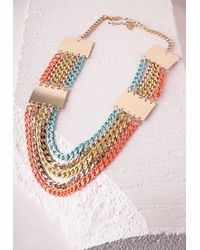 Missguided - Multicolor Chunky Layered Chain Necklace Neon - Lyst