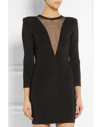 Balmain - Black Stretchknit and Gauze Mini Dress - Lyst