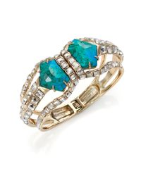 Alexis Bittar | Metallic Miss Havisham Mosaic Chrysocolla & Crystal Geometric Triple-band Bracelet | Lyst