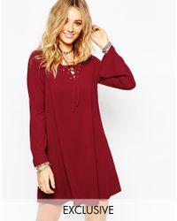 Glamorous | Purple Lace Up Swing Dress | Lyst