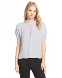 Vince Camuto | Purple Stand Collar Short Sleeve Blouse | Lyst