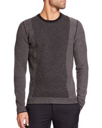 Vince - Black Contrast-stripe Wool & Cashmere Sweater for Men - Lyst