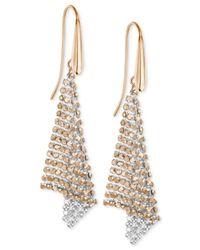 Swarovski | Pink Rose Gold-tone Crystal Mesh Drop Earrings | Lyst
