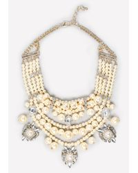 Bebe | White Pearlescent Bib Necklace | Lyst