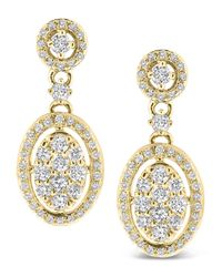 KC Designs - Metallic Diamond Oval Dangle Earrings - Lyst