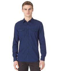 Calvin Klein | Blue Modern Fit Slub Voile Sportshirt for Men | Lyst