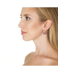 Emily & Ashley | Metallic Large Size Square Drop Earring, Amethyst | Lyst
