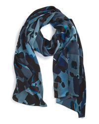 Burberry | Blue Animal Print Check Silk Scarf | Lyst