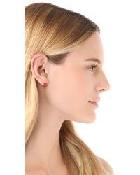 kate spade new york | Metallic Be Mine Pave Stud Earrings | Lyst