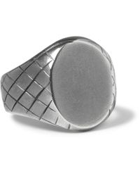 Bottega Veneta | Metallic Engraved Sterling Silver Signet Ring for Men | Lyst