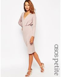 ASOS | Pink Petite Jersey Crepe Deep Plunge Midi Dress | Lyst