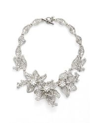 Marchesa   Metallic Large Crystal Leaf Collar Necklace   Lyst