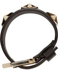 Givenchy - Black Leather Star_Studded Bracelet - Lyst