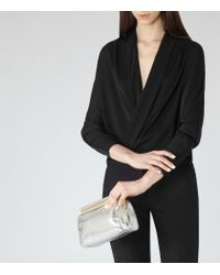 Reiss - Black Ivy Wrap-front Top - Lyst