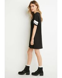 Forever 21 | Black Varsity-striped T-shirt Dress | Lyst
