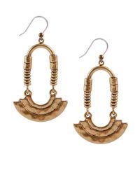 Lucky Brand | Metallic Goldtone Modern Ring Drop Earrings | Lyst