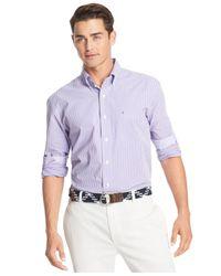 Izod - Purple Gingham Long Sleeve Shirt for Men - Lyst