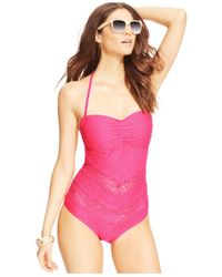 Jessica Simpson - Pink Crochet Bandeau One-Piece Swimsuit - Lyst