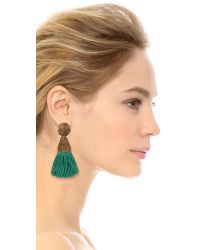 Oscar de la Renta - Green Short Silk Tassel Earrings - Jade - Lyst