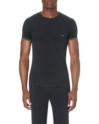 Emporio Armani - Blue Camo Eagle-back Stretch-cotton T-shirt for Men - Lyst