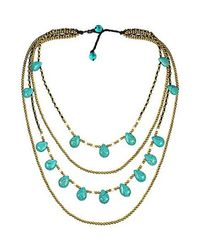 Aeravida | Blue Mystic Princess Turquoise Teardrop Layers Brass Necklace | Lyst