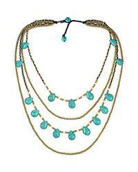 Aeravida | Blue Mystic Princess Turquoise Teardrop Layers Brass Necklace | Lyst