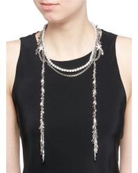 Venna - White Zircon Star Leaf Fringe Necklace - Lyst