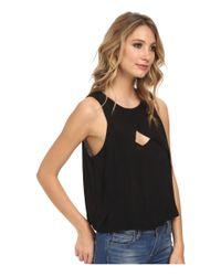 Free People - Black Slubbed Out Crinkle Solid Look Thru Top - Lyst