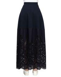 Stella McCartney - Blue Broderie Anglaise Long Skirt - Lyst