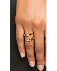 Giles & Brother - Metallic Double Spike Bypass Ring - Gold - Lyst