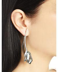 Oscar de la Renta - Metallic Delicate Silver Tulip Earrings - Lyst