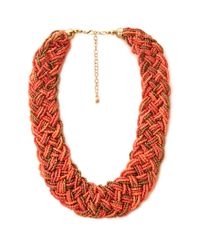 Forever 21 | Orange Eclectic Braided Bead Necklace | Lyst