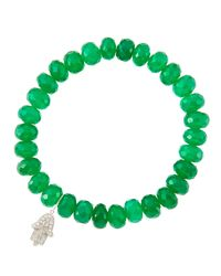 Sydney Evan | 8Mm Faceted Green Onyx Beaded Bracelet With 14K Gold/Diamond Medium Ladybug Charm (Made To Order) | Lyst