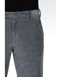 Armani | Gray Trousers In Stretch Velvet for Men | Lyst