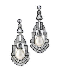 Kenneth Jay Lane | Metallic Crystal Deco Clip Earring With Black Lines | Lyst