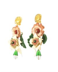 Dolce & Gabbana White Hand-Painted Enamel And Crystal Earrings