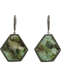 Monique Pean Atelier - Green Pave Black Diamond & Emerald Slice Earrin - Lyst