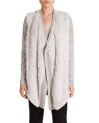 Vince - Gray Draped Wool & Rabbit Fur Vest - Lyst
