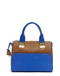 hayden-harnett | Blue 'sandrine' Saffiano Leather Satchel | Lyst