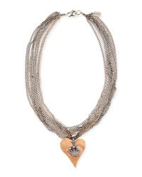 Irit Design | Gray Hammered Pink Gold Heart Necklace With Diamond Crown | Lyst