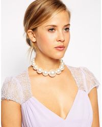 ASOS | Natural Faux Pearl Chunky Choker Necklace | Lyst