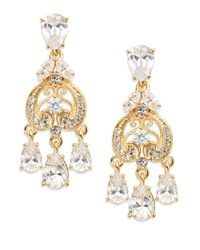 Adriana Orsini | Metallic Filigree Crystal Teardrop Chandelier Earrings/gold | Lyst