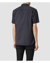 AllSaints - Blue Shield Short Sleeved Shirt for Men - Lyst