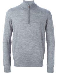 Della Ciana - Gray Zipped Funnel Neck Sweater for Men - Lyst