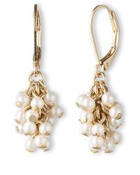 Lonna & Lilly - Metallic Goldtone And Pearl Cluster Drop Earrings - Lyst