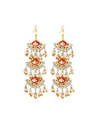 Chamak by Priya Kakkar | Orange Fan-style Tiered Drop Earrings | Lyst