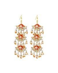 Chamak by Priya Kakkar - Orange Fan-style Tiered Drop Earrings - Lyst