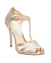 Betsey Johnson | Metallic Tee Open Toe T-strap Sandals | Lyst