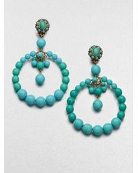Oscar de la Renta - Blue Beaded Circle Earrings - Lyst