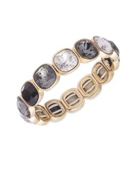 Anne Klein | Gray Jet Crystal Stretch Bracelet | Lyst